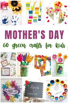 60 Green Mother's day crafts for kids to make and give to moms - 60 Green Mother& day crafts for kids to make and give to moms – all made from recycled mate - Green Crafts For Kids, Mothers Day Crafts For Kids, Crafts For Kids To Make, Arts And Crafts Projects, Diy Crafts, 30th Birthday Gifts, Birthday Crafts, Mom Birthday, Baby Jars