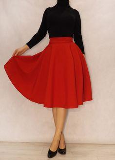 Petticoat & Unterrock - Rot Midirock Knielange - ein Designerstück von jankun bei DaWanda