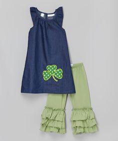 Look what I found on #zulily! Blue Clover Angel-Sleeve Dress & Green Pants - Toddler & Girls by A Little Annafaith #zulilyfinds