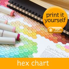 The Hex Chart is a digital downloaddesigned to show the visual color relationship between Copic marker colors. The ability to compare light tints of similar colors, or dark shades of them, is now …