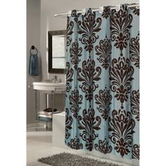 Carnation Home Fashions EZ On Grommet Damask Fabric Shower Curtain in blue/brown $19.99 -- also in sage/ivory and white/black.