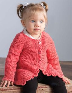 Free Knitting Pattern for Sideways Baby Cardi - Long-sleeved baby cardigan sweater knit from side to side in garter stitch with scalloped button bands. Sizes 3–6 (12–18, 24, 36) months. Recommended DK yarn available on pattern page. Designed by Lena Skvagerson.