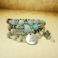 Gemstone Memory Wire Charm Bracelet Blue Agate by MayanRoseShop, $69.00