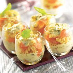 Verrine de Torsades Saumon Fumé Sauce Oseille cuisinée avec des cubes de Sauce Oseille TIPIAK. Pour 6 personnes - Préparation : 20 min - Cuisson : 10 min.