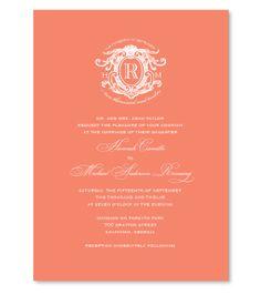 Coral wedding invites