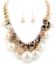 JF402368 Ladies Fashion Jewellery Cream colour pearls Necklace and Earring Set Gift