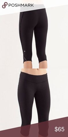 b6ce3a8d3c8a7 LULULEMON ATHLETICA Black Cropped Leggings Beautiful Lululemon Leggings  Features: Knee oval Cropped Small Ruffle detail