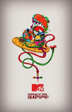 "MTV Concept ""Surprice in your headphones"" - Ilustración by DAVID MIRANDA DG, via Behance"