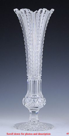 AMERICAN BRILLIANT PERIOD CLASSICALLY CUT TRUMPET FORM GLASS VASE