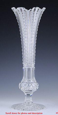 AMERICAN BRILLIANT PERIOD CLASSICALLY CUT TRUMPET FORM GLASS VASE