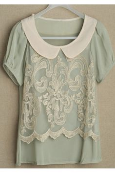 Beautiful mint green blouse with Peter Pan collar & lace <3