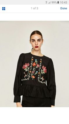 295c7066365 Black White Flower Embroidery Blouses And Shirts Fashion Tunic Top Femme  Chic Butterfly Embroidery Ruffle Blouse Tops For Women
