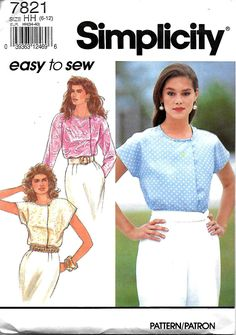 Simplicity 7821 Misses Easy To Sew Concealed Opening Blouse Pattern, Size 6-12,  UNCUT by DawnsDesignBoutique on Etsy