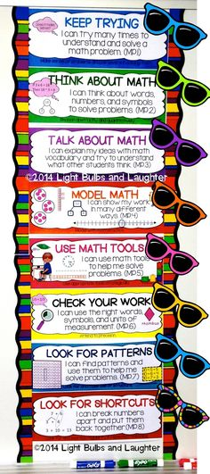 Common Core Math - 8 Standards for Mathematical Practice, part Getting kids to look at math through different glasses! Guided Math, Math 8, Math Literacy, Standards For Mathematical Practice, Math Coach, Math Talk, Third Grade Math, Grade 3, Fourth Grade