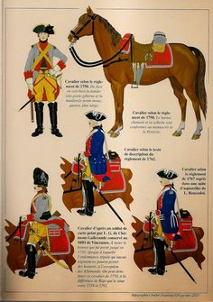 French; Orleans Cavalry From top left to bottom right; Trooper as per 1750…