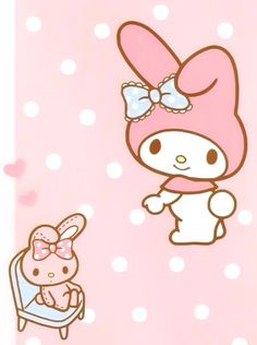"""Glenda picked pink & polka """"Doll on Chair"""" from erylima on My Melody Wallpaper, Sanrio Wallpaper, Friends Wallpaper, Kawaii Wallpaper, Hello Kitty My Melody, Vintage My Little Pony, Hello Kitty Pictures, Character Wallpaper, Kawaii Stationery"""