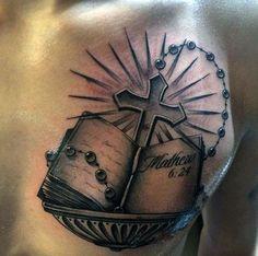 Cool Chest Tattoos, Leg Tattoo Men, Arm Tattoos For Guys, Trendy Tattoos, Leg Tattoos, Sleeve Tattoos, Bible Quote Tattoos, Biblical Tattoos, Bible Verse Tattoos