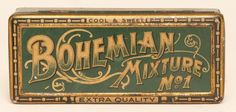 """Bohemian Mixture rectangular tobacco tin with nice early style lithography. Tin is in good shape with minor wear. Size: 7"""" x 3"""" x 2"""""""