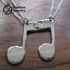Best Friends Music Note Friendship Pendant Necklace Gift for Her