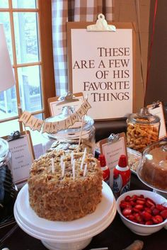 "My Favorite Things Birthday Party Theme - Lynne Kamaiopili - My Favorite Things Birthday Party Theme The masculine style of this fun ""favorite things"" birthday party is perfect for a man's birthday! 50th Birthday Party Ideas For Men, 50th Birthday Themes, 50th Birthday Decorations, Moms 50th Birthday, 25th Birthday Parties, Adult Birthday Party, 50th Party, Happy Birthday, Birthday Beer"
