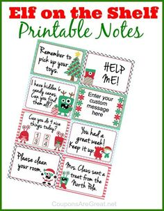 Free Elf on the Shelf printable notes.  There is even a really cool customizable box that allows you to type your own message!  #ElfOnTheShelf by lasmith69