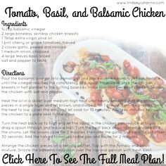 Tomato, Basil & Balsamic Chicken - part of my PiYo Meal Plan!