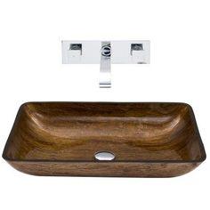 Vigo VGT297 Rectangular Amber Sunset Glass Vessel Sink and Wall Mount Faucet Set - Chrome - VGT297