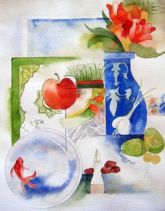 Happy Norouz ~ by **Alieh** Watercolor Animals, Watercolour Painting, Watercolor Flowers, Painting & Drawing, Watercolours, Image Hd, Art Techniques, Amazing Art, Decoupage