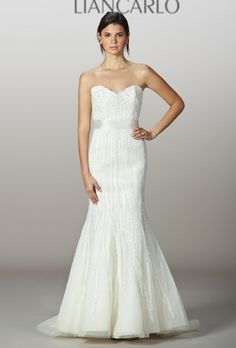 Liancarlo - Spring 2013. Style 5841, strapless beaded silk organza and tulle mermaid wedding dress with a sweetheart neckline, Liancarlo