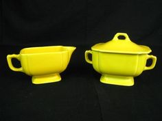 Vintage Homer Laughlin Riviera Ware Yellow Sugar Bowl Creamer Fiesta Ware