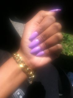 Obsessed purple almond nails