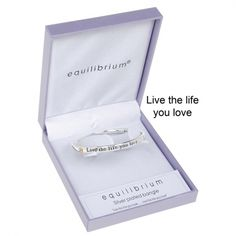 """Equilibrium Silver Plated Bangle - """"Live the life you love"""""""