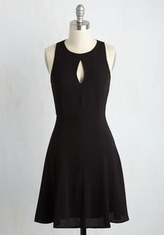 Keen About Keyholes Dress in Black. If a peek of chic appeals to you, then this black dress definitely speaks your language! #black #modcloth