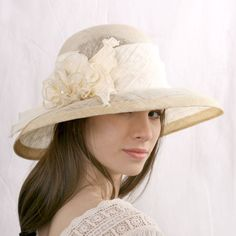 9ab34865b5872 Cream wedding hat widebrim bridal hat Melbourne cup hat Royal Ascot Hats