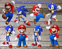 INSTANT DOWNLOAD Mario Sonic Printable Birthday Party for Decorations Centerpiece, Banner, Wall Decor & Iron On Transfer Tshirt