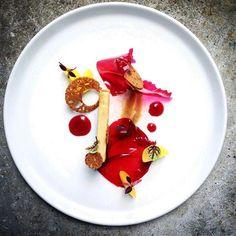 Foie gras terrine, hibiscus, quince , saffron compressed Apple, pain d'épices