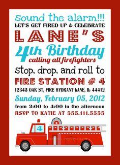 FIRE TRUCK INVITATION Printable Fireman Birthday Invite