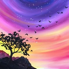 We host painting events at local bars. Come joi… Paint Nite. We host painting events at local bars. Come join us for a Paint Nite Party! Wine And Canvas, Pastel Art, Easy Paintings, Pictures To Paint, Painting Inspiration, Painting & Drawing, Watercolor Paintings, Sunset Acrylic Painting, Cool Art