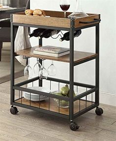 Austin Wooden Metal Planked Top Kitchen Cart on Casters and Storage Shelves  http://www.furnituressale.com/austin-wooden-metal-planked-top-kitchen-cart-on-casters-and-storage-shelves/