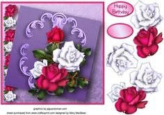 Roses Decoupage Card Front on Craftsuprint - View Now!