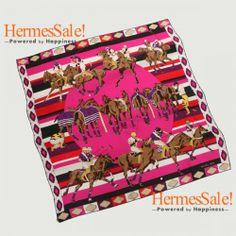 HERMES Silk Les Poneys de Polo Scarf 90cm -Fuschia