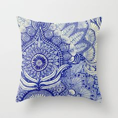 Love the cobalt blue and asymmetric placement of the pattern.  blue Throw Pillow by Yes Menu - $20.00