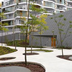 Central Garden Block B4 by TN+ Landscape Architects: love the sunken and raised areas for planting. This design leads the eye and the body through the space.