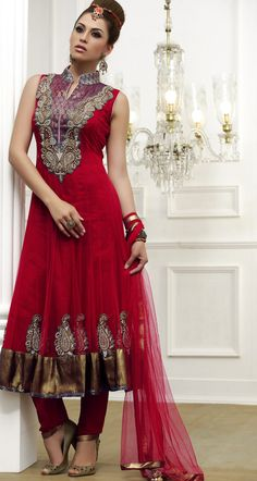 Majesty Red Salwar Kameez  Item Code: V08538  $200.66