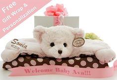 My Sweet Dreams Baby - Personalized Baby Belly Blankets - Pink Bear (http://www.mysweetdreamsbaby.com/animalbellyblanket.htm)