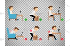 Man sitting and working correct postures. Business Infographic