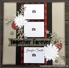 Wintry buffalo plaid companion page. I real like the layout but would prefer to see more paid and have bigger pictures. (Together Forever layout by Jennifer Smith w/added Cricut Cut Flower Market flowers) Wedding Scrapbook Pages, Love Scrapbook, Scrapbook Layout Sketches, Birthday Scrapbook, Scrapbook Templates, Scrapbook Designs, Scrapbook Supplies, Scrapbooking Layouts, Scrapbook Cards