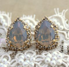 Gray Crystal big teardrop stud earring - 14 k plated gold post earrings real swarovski rhinestones . Loooove