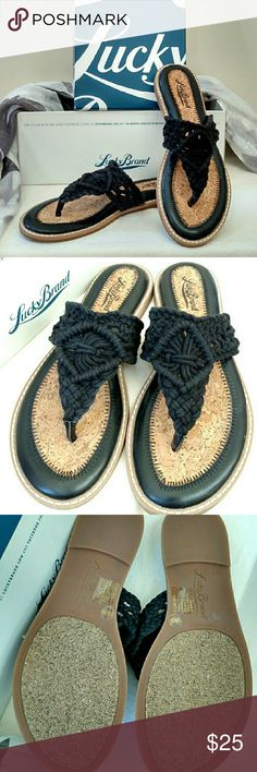 NEW Lucky Brand Barry Boho Flip Flops Rock boho chic when you slip into the Barry flat sandal from Lucky Brand. This crocheted look is ideal for casual feminine fun! Crochet fabric upper. Cushioned cork footbed with leather trim. Synthetic sole.  **Runs slightly small. ** Lucky Brand Shoes Sandals
