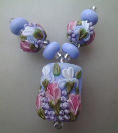 BLISS Spring Perennials on Light Blue Lampwork Kalera Focal and Pair…